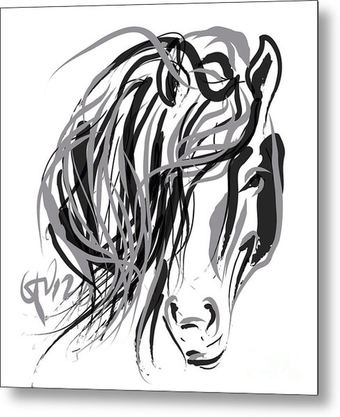 Horse- Hair And Horse Metal Print