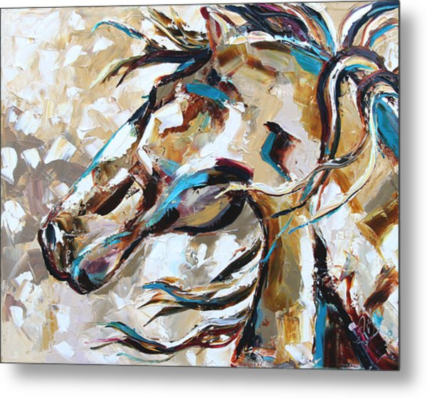 Horse In Snow Metal Print
