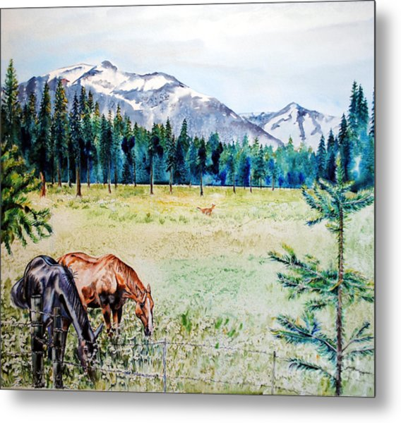 Horse Meadow Metal Print by Tracy Rose Moyers