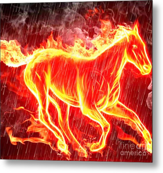 Horse Of Fire And Rain Metal Print