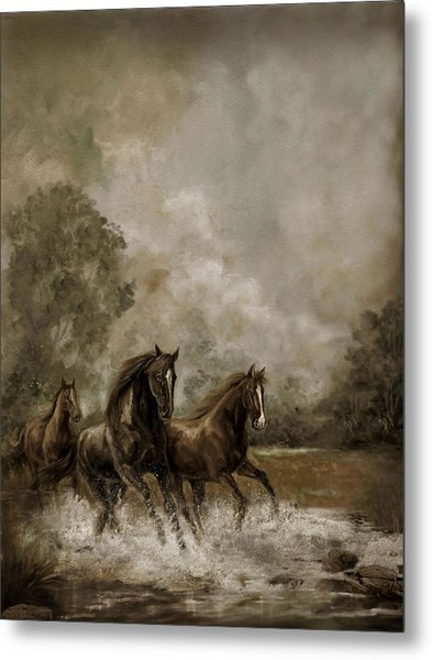 Horse Painting Escaping The Storm Metal Print