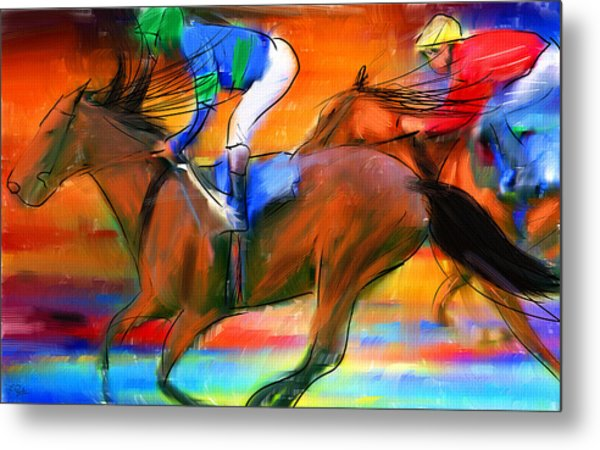 Horse Racing II Metal Print
