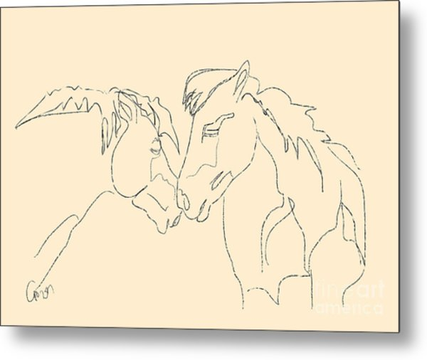 Horse - Together 3 Metal Print