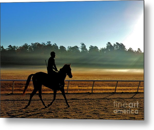 Horse Training At The Winter Colony Metal Print