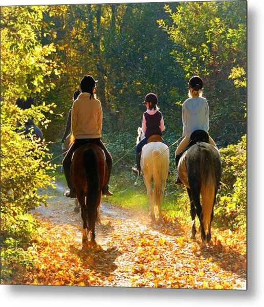 Horseback Riding In The Autumnal Forest Metal Print