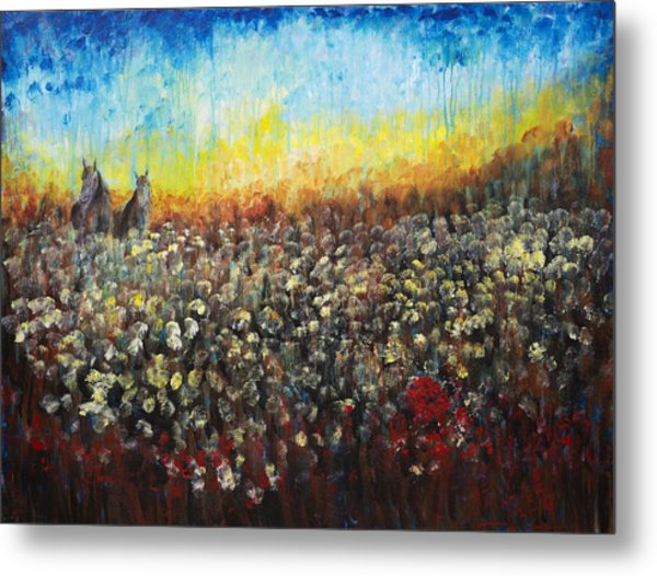 Horses And Dandelions Metal Print