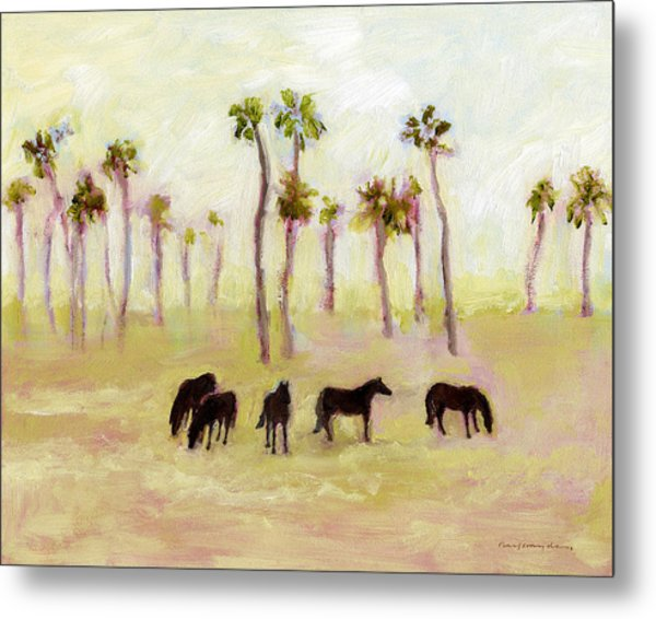 Horses And Palm Trees Metal Print