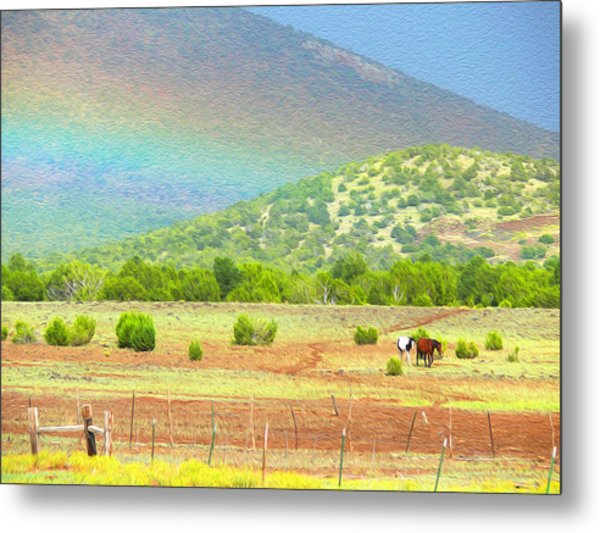 Horses At The End Of The Rainbow Metal Print
