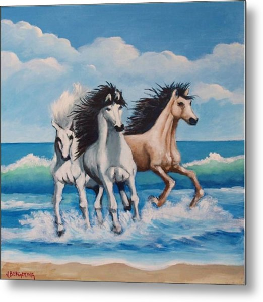 Horses On A Beach Metal Print