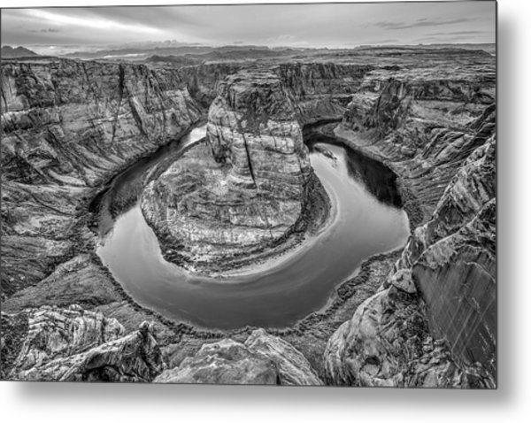 Horseshoe Bend Arizona Black And White Metal Print