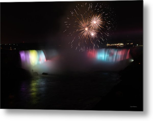Horseshoe Falls With Fireworks Metal Print