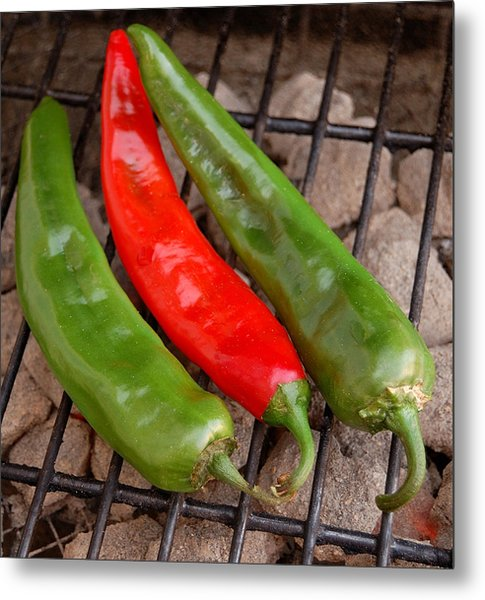 Hot And Spicy - Chiles On The Grill Metal Print