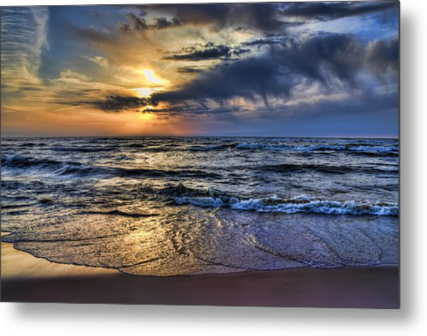 Hot April Sunset Saugatuck Michigan Metal Print
