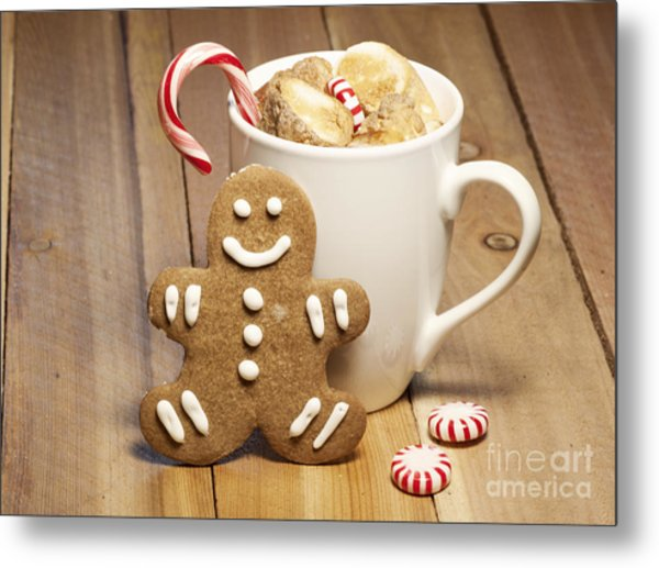 Hot Chocolate Toasted Marshmallows And A Gingerbread Cookie Metal Print