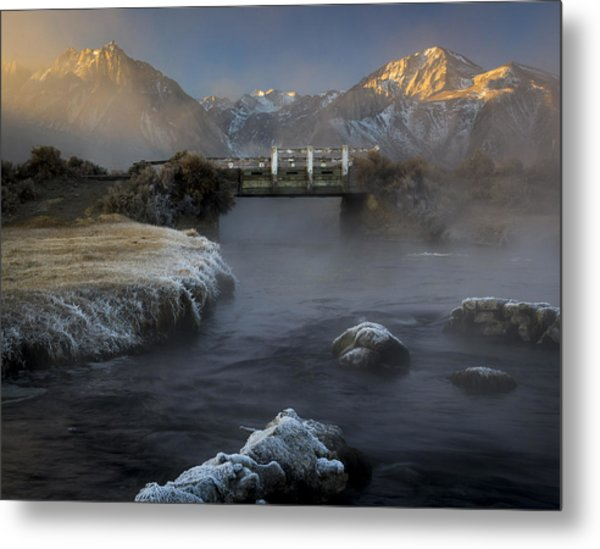 Hot Creek In Winter Metal Print
