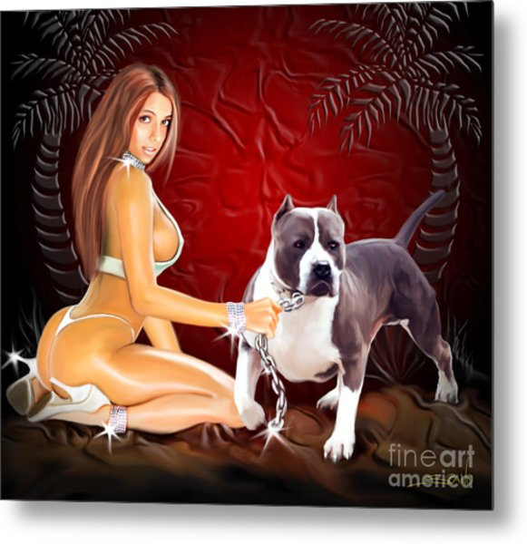 Hot Girl With Pit Bull Metal Print