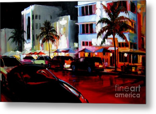 Hot Nights In South Beach - Oil Metal Print by Michael Swanson