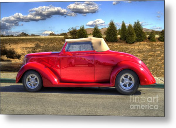 Hot Red Car Metal Print