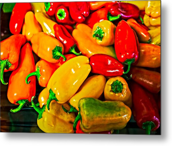 Hot Red Peppers Metal Print