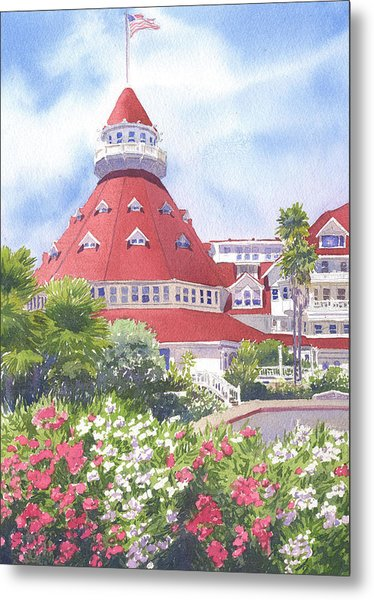Hotel Del Coronado Palm Trees Painting By Mary Helmreich