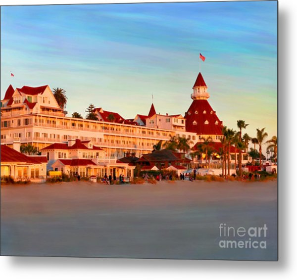 Metal Print featuring the mixed media Hotel Del Sunset by Glenn McNary