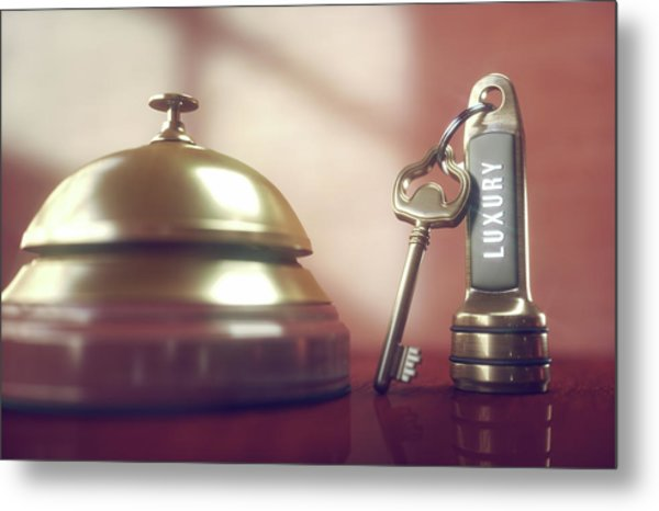 Hotel Key And Bell Metal Print by Ktsdesign/science Photo Library