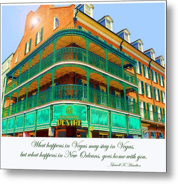 Hotel On Bourbon Street New Orleans Louisiana Metal Print