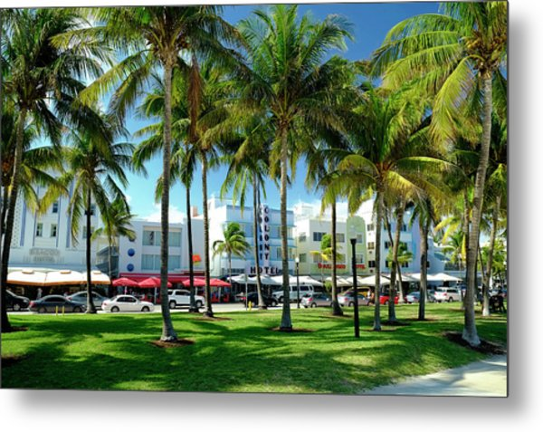 Hotels At Ocean Drive, South Beach Metal Print