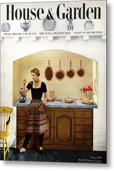 House And Garden Featuring A Woman Cooking Metal Print