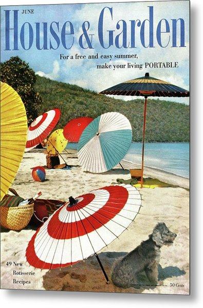 House And Garden Featuring Umbrellas On A Beach Metal Print