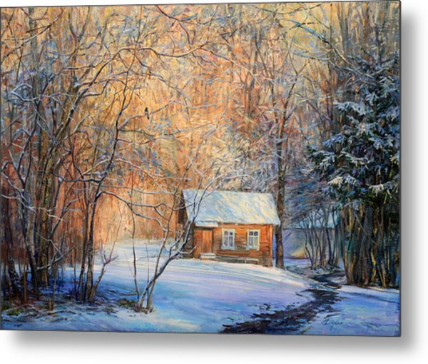 House In The Winter Forest  Metal Print