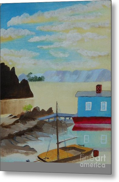 Houseboat Harbor Metal Print