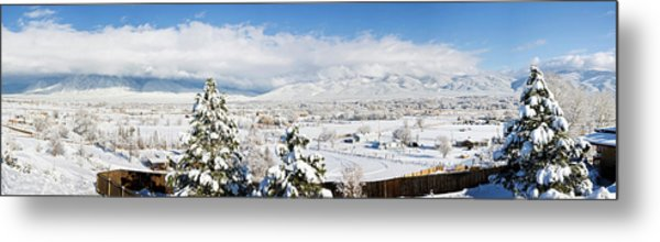 Houses And Trees Covered With Snow Metal Print