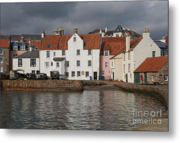Houses At Pittenweem Harbor Metal Print