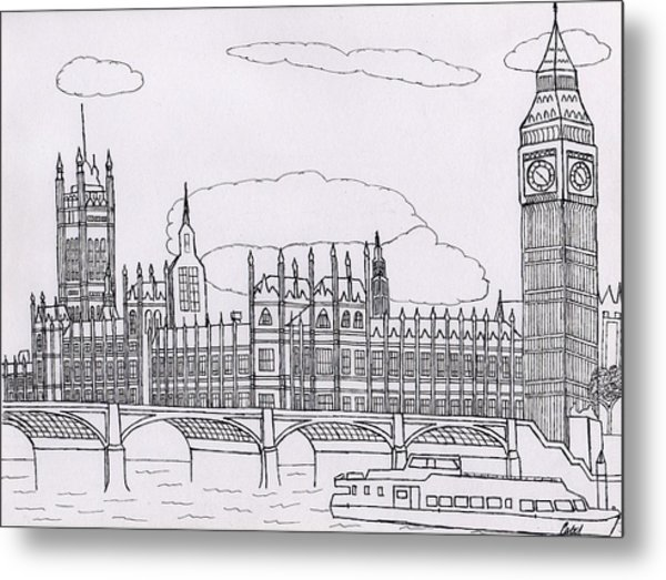 Houses Of Parliament Metal Print by Bav Patel