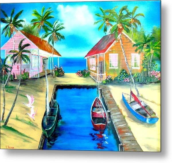 Houses On The Canal Metal Print