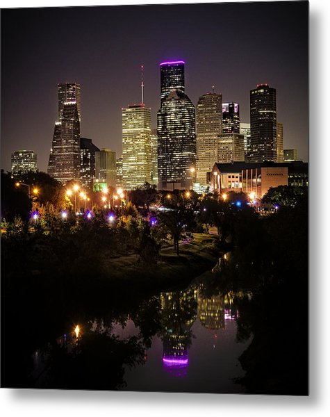 Houston Skyline From Buffalo Bayou Metal Print
