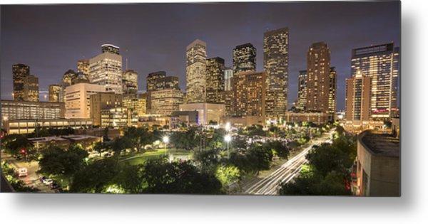 Houston Texas Skyline Panorama Metal Print by Pgiam