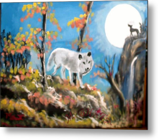 Howling Wolves Metal Print by M Bhatt
