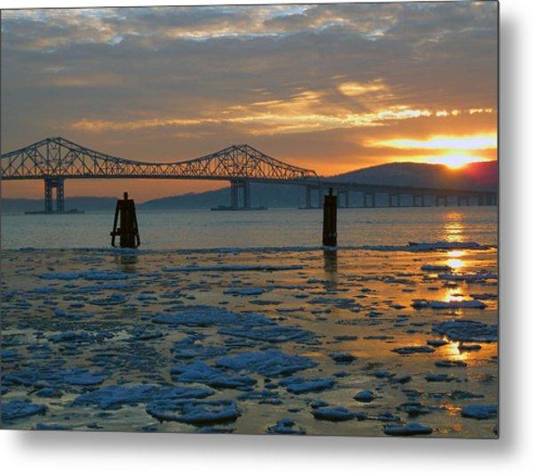Hudson River Icey Sunset Metal Print