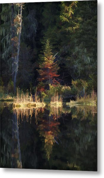 Huff Lake Reflection Metal Print