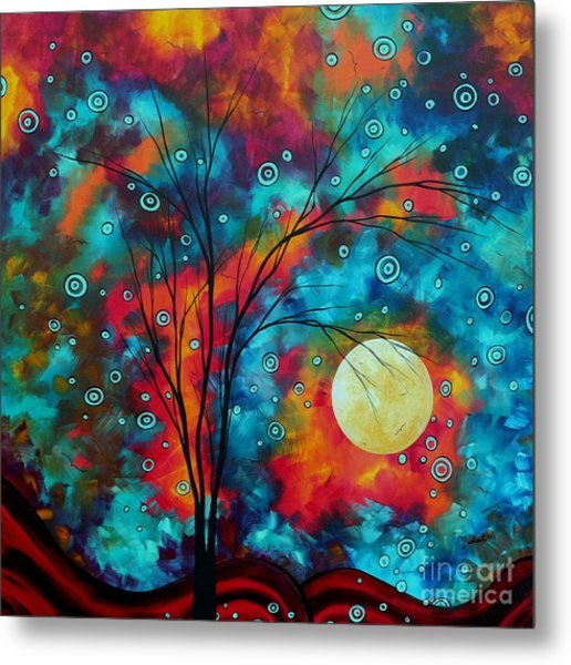 Huge Colorful Abstract Landscape Art Circles Tree Original Painting Delightful By Madart Metal Print