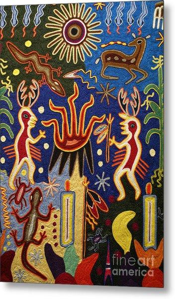 Huichol Yarn Painting Mexico Metal Print
