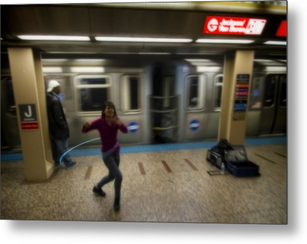 Metal Print featuring the photograph Hula Hoopist Performs By Train by Sven Brogren