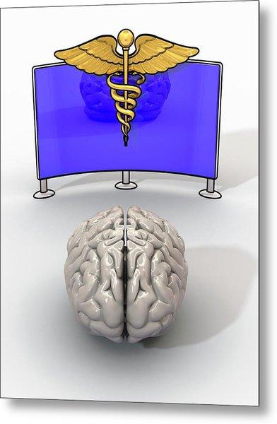 Human Brain And Medical Logo Metal Print