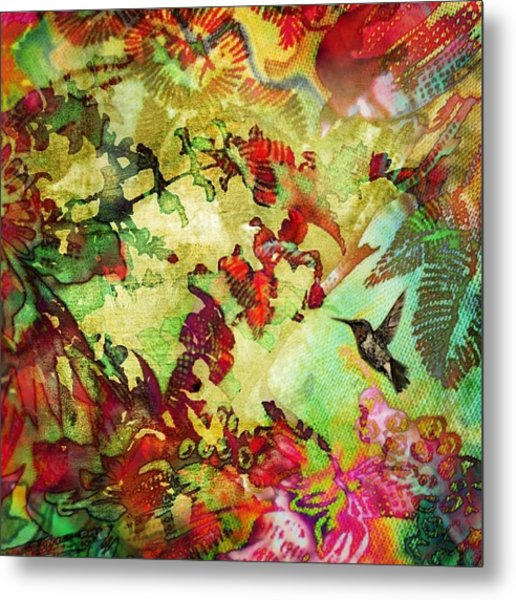 Hummingbird In Flower Heaven - Square Metal Print