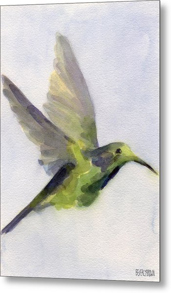 Hummingbird Watercolor Bird Painting Metal Print