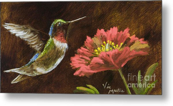 Hummingbird With Gold Leaf By Vic Mastis Metal Print