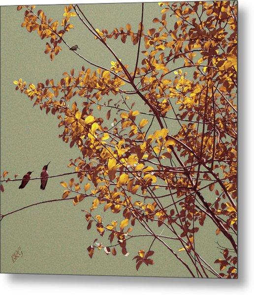Hummingbirds On Yellow Tree Metal Print