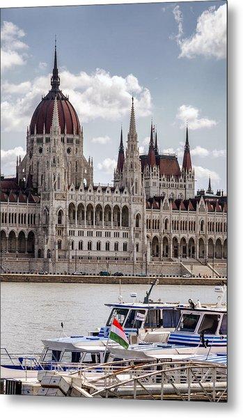 Hungarian Parliament Across The Danube Metal Print